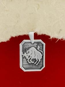 Сребърен медальон - Зодия Телец
