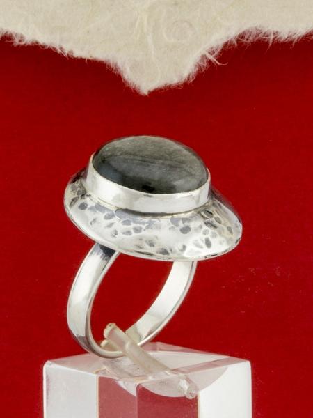 Сребърен пръстен - RK3 - Сребрист Обсидиан