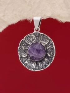 Сребърен медальон - PK22 - Аметист