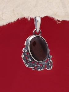 Сребърен медальон - PK75A - Червено Тигрово Око