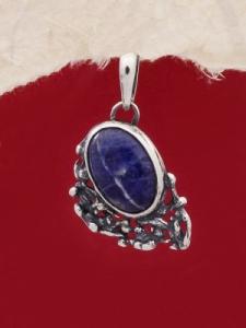Сребърен медальон - PK75A - Лазурит