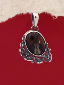 Сребърен медальон - PK75A - Махагонов Обсидиан