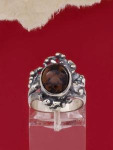 Сребърен пръстен - RK75A - Махагонов Обсидиан
