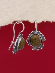Сребърни обеци - EK75A - Пейзажен Яспис