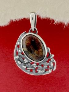 Сребърен медальон - PK75A - Пейзажен Яспис