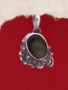 Сребърен медальон - PK75A - Златист Обсидиан