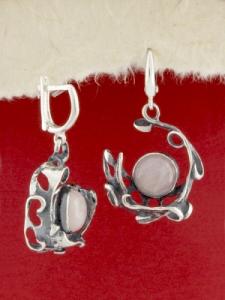Сребърни обеци - EK162 - Розов Кварц