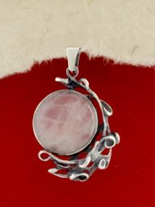 Сребърен медальон - PK162 - Розов Кварц