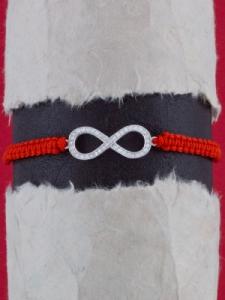 Гривна шамбала със сребърен символ БЕЗКРАЙНОСТ