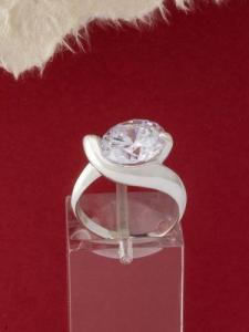 Сребърен пръстен - R432-WHITE