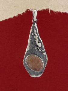 Сребърен медальон - PK381 - Малинов ахат