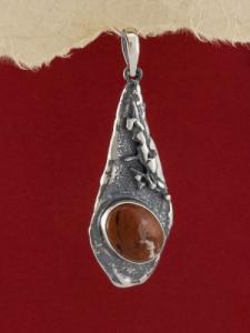 Сребърен медальон - PK381 - Червен яспис