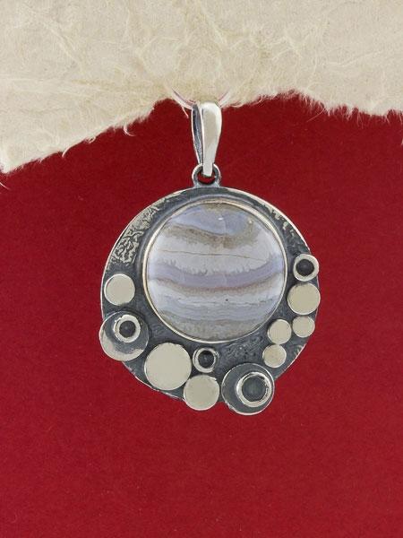 Сребърен медальон - PK375 - Ивичест ахат