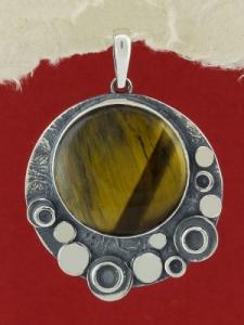 Сребърен медальон - PK375 - Тигрово око