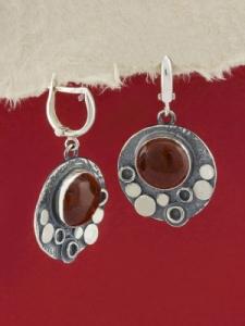 Сребърни обици - EK375 - Червен яспис