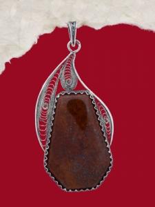 Медальон филигран FP108 - Червен яспис