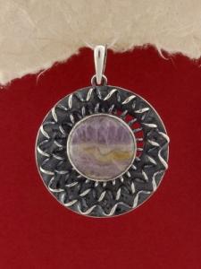Сребърен медальон - PKWS114 - Аметист