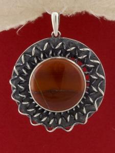 Сребърен медальон - PKWS114 - Червен яспис