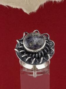 Сребърен пръстен - RKWS114 - Кордиерит