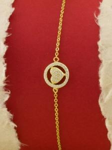 Сребърна гривна със златно родиево покритие - B-ASB925-0009.G
