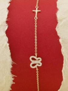 Сребърна гривна с розово родиево покритие - B-ASB925-0012.R