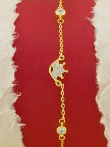 Сребърна гривна със златно родиево покритие -B-ASB925-0018.G