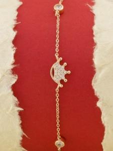 Сребърна гривна с розово родиево покритие - B-ASB925-0018.R