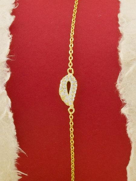 Сребърна гривна със златно родиево покритие - B-ASB925-0019.G