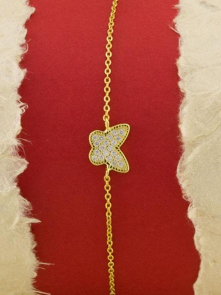 Сребърна гривна със златно родиево покритие - B-ASB925-0024.G