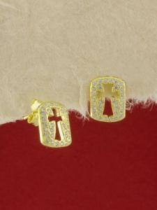 Сребърни обици със златно родиево покритие - E-ASS925-0012.G