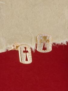 Сребърни обици с розово родиево покритие - E-ASS925-0012.R