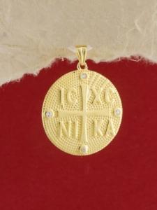 Сребърен медальон със златно родиево покритие - P-ASM925-0003.G