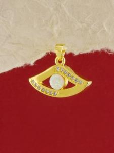 Сребърен медальон със златно родиево покритие - P-TOPM-0045.GW