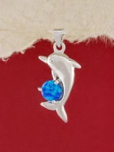 Сребърен медальон с родиево покритие - P-TOPM-0054