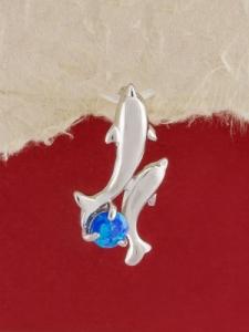 Сребърен медальон с родиево покритие - P-TOPM-0056