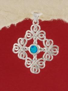 Сребърен медальон с родиево покритие - P-TOPM-0088