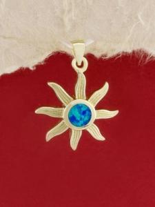 Сребърен медальон със златно родиево покритие - P-TOPM-0093.GB