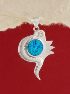 Сребърен медальон с родиево покритие - P-TOPM-0107
