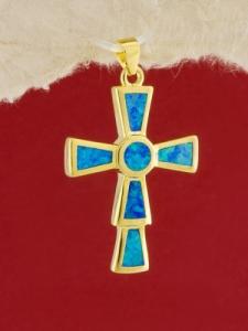 Сребърен медальон със златно родиево покритие - P-TOPM-0113.GB