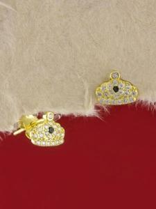 Сребърни обици със златно родиево покритие - E-ASS925-0013.G
