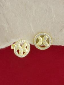 Сребърни обици със златно родиево покритие -E-ASS925-0025.G