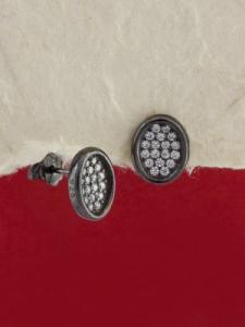 Сребърни обици с черно родиево покритие - E-ASS925-0040.B