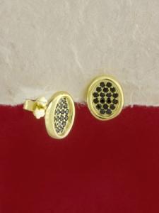 Сребърни обици със златно родиево покритие - E-ASS925-0040.G