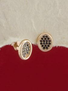 Сребърни обици с розово родиево покритие - E-ASS925-0040.R