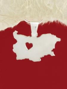Сребърен медальон - Карта на България