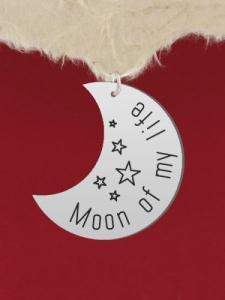 Сребърен медальон за гравиране - Луна - GR80
