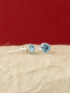 Сребърни минималистични обеци за месец Март -E001BST-Аквамарин