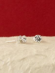 Сребърни минималистични обеци за месец Април -E001BST-Кристал