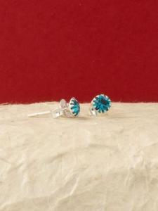 Сребърни обеци за месец Декември - E001BST - Син Циркон