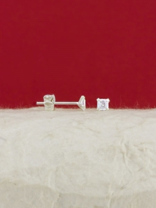 Сребърни минималистични обеци - E002TSQ - 3мм